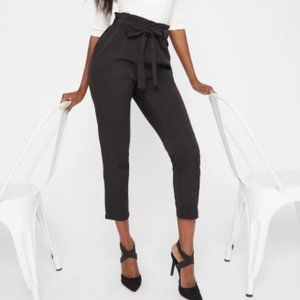 2/$15 Black Paper Bag Waist Trousers Size Small